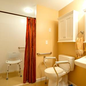 Each of our clients have his/her own bathroom with a roll-in shower.