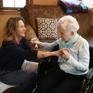 Wendy our massage therapist spends time with each resident weekly
